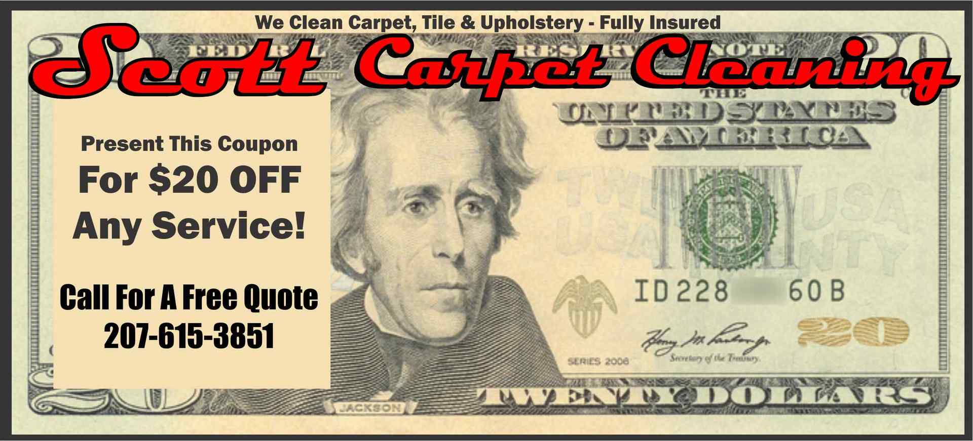 Print Coupon for Scott Carpet Cleaning Discount on Carpet, Tile, Upholstery, Boat, or RV Cleaning